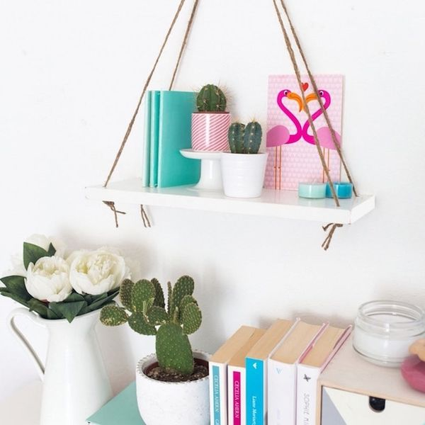 21 DIY Hanging Shelves + Tables That Will Save You Major Floor Space