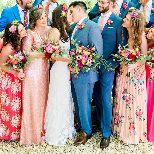 12 of the Most Swoon-Inducing Mismatched Bridesmaid Dress Looks on Insta