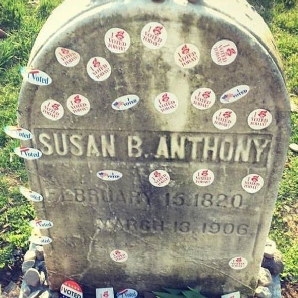 #ElectionDay Voters Are Lining Up to Leave #IVoted Stickers on Susan B. Anthony's Grave