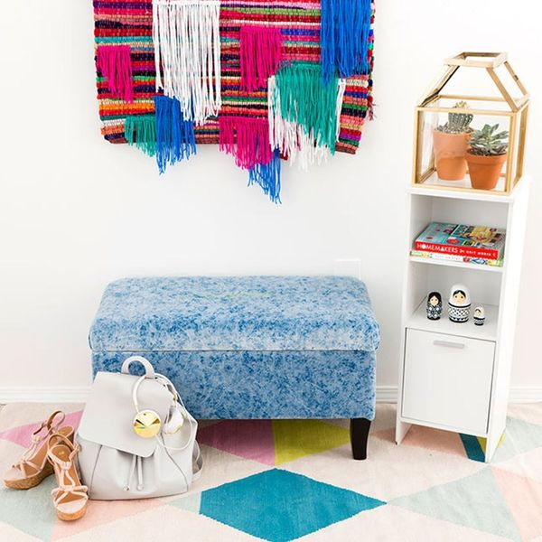 Reupholster a Storage Ottoman Inspired by That New Shade of Blue