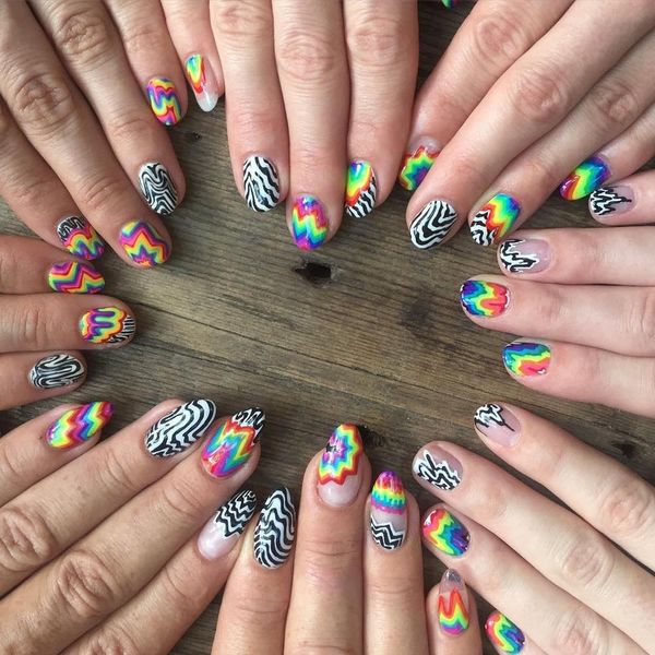Get Your Groove on With These 11 Tie-Dye and Black Nails