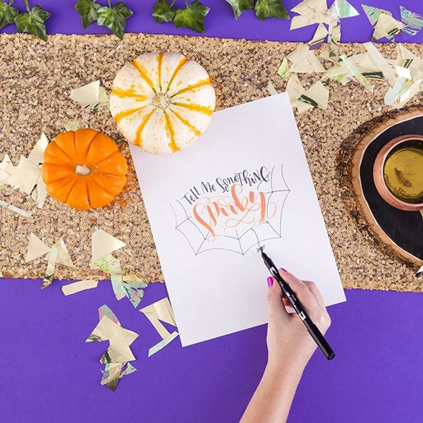 Make Your Own Halloween Lettering Art With This Tutorial + Free Printable