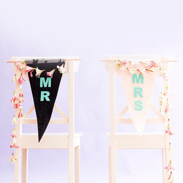 "Say ""I Do"" to DIY Bride + Groom Chair Signs"