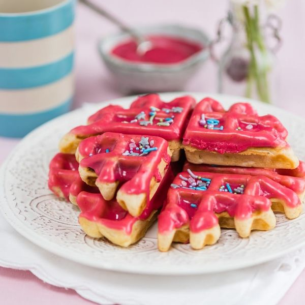 Your Mother's Day Brunch Needs This Berry Glazed Donut Waffles Recipe