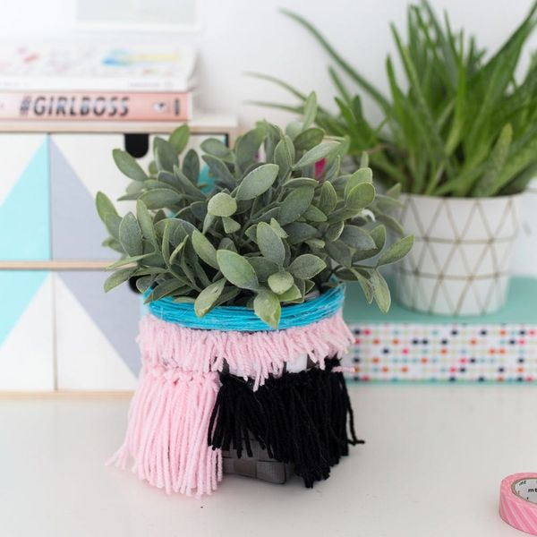 Keep Your Home Office Organized With This DIY Anthro-Inspired Tasseled Basket