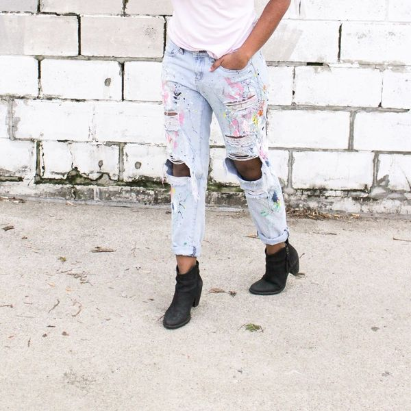 Make a Statement With These Trendy DIY Paint Splattered Boyfriend Jeans