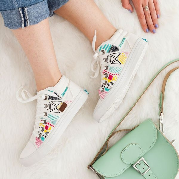 Forget the Hoop! Embroider White Canvas Sneakers for Spring