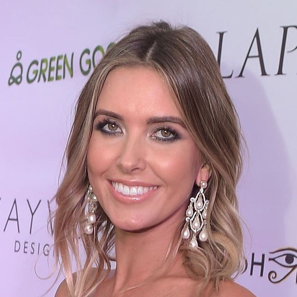 Audrina Patridge Wows on the Red Carpet in Baby-Bump-Hugging Gold Mini