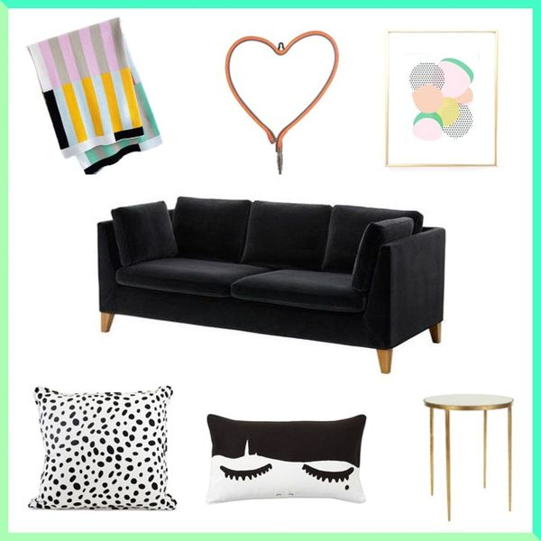 3 Decor Hacks to Make a Black Couch Look More Grown-Up