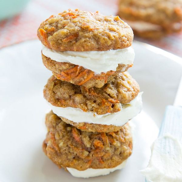 Mini Carrot Cake Cookie Sandwiches With Cream Cheese Frosting