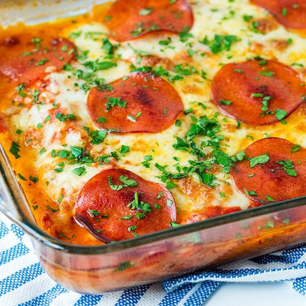 Get That Pizza Fix Minus the Carbs With This Chicken Pepperoni Casserole