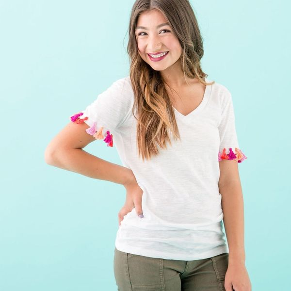 DIY These Trendy Low Cost Tassel Tees for Your Kid's BEST Back to School Look
