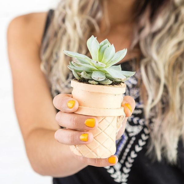 Make These Clay Ice Cream Cone Planters for Under $10