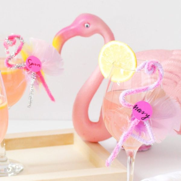 Party in Pink With DIY Flamingo Drink Tags
