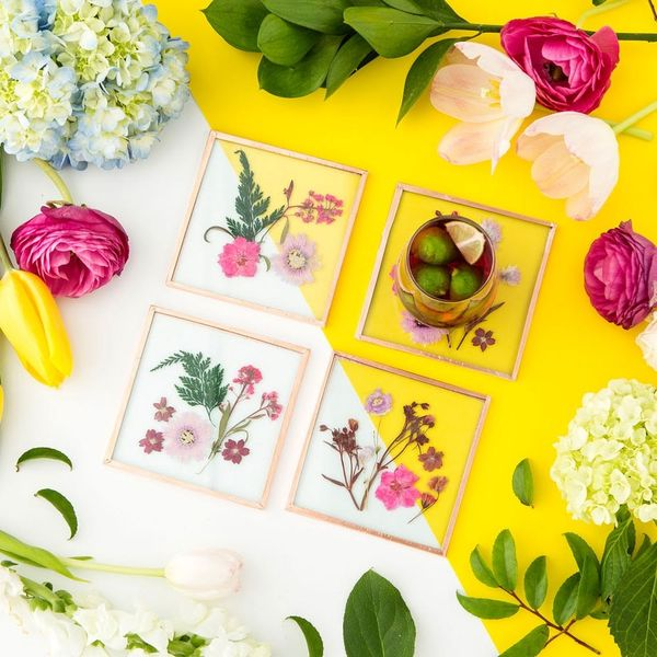 How to Make Pretty Pressed Flower Coasters - Brit + Co