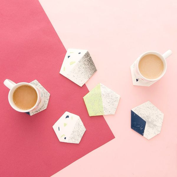 Use Faux Granite and Marble Spray Paint to Make Coasters for Mother's Day