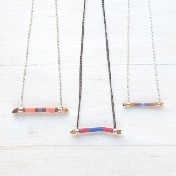 How to Make a Color Blocked Twig Necklace
