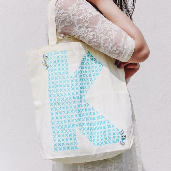 How to Make a No-Sew Cross-Stitched Monogram Tote Bag