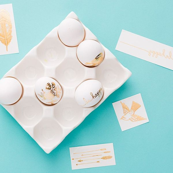 Temporary Tattoos + Easter Eggs = The Easiest Egg Decorating Hack Ever