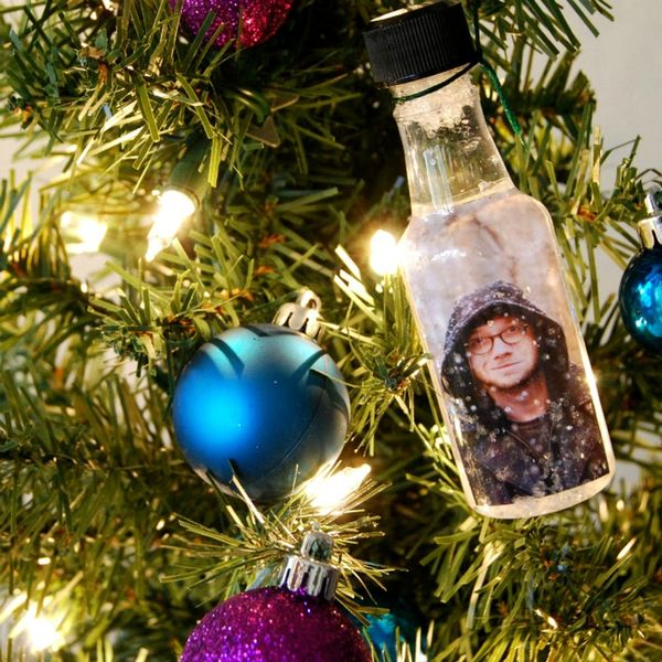 How to Turn Little Liquor Bottles into Photo Snow Globe Ornaments