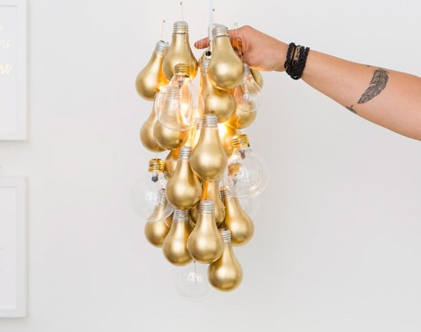 You Can Totally DIY This Gold-Dipped Light Bulb Chandelier