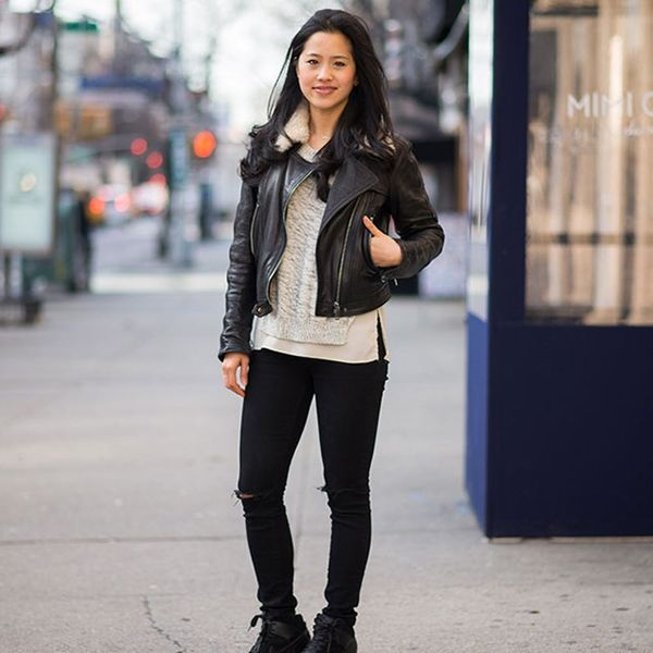 See How This Foodie #Girlboss Rocks a Leather Jacket to Work