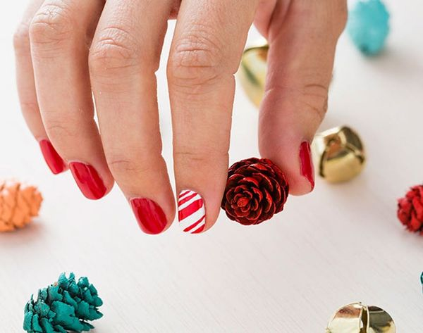 Use 1 Bottle of Red Nail Polish to DIY 3 Holiday Nail Art