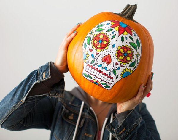 No-Carve Sugar Skull Pumpkins