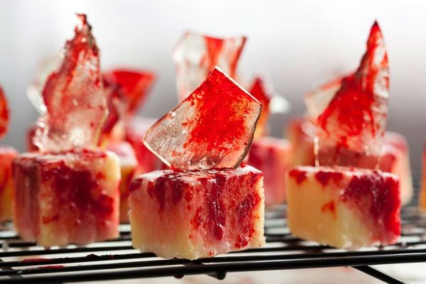 Blood-Splattered Petit Fours with Sugar Glass