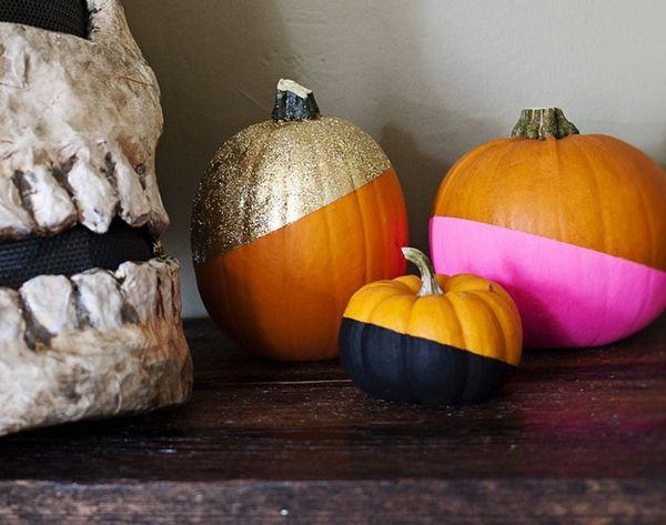 No-Carve Glitzy Color-Dipped Pumpkins