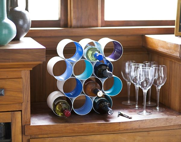 DIY Color Block Wine Rack Made From Coffee Cans
