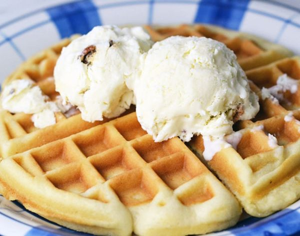 Dessert for Breakfast: Maple Bacon Ice Cream with Waffles