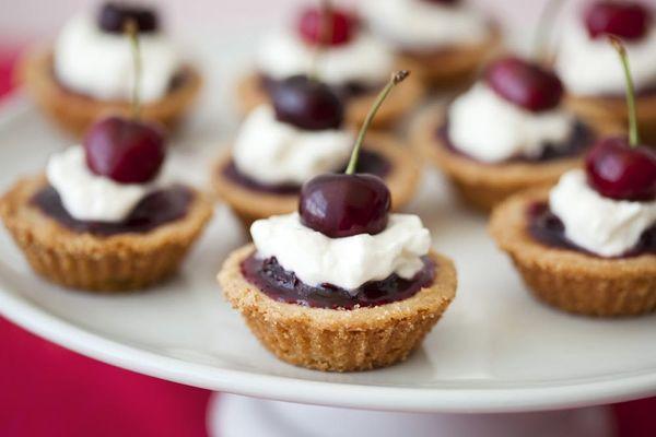 Buttermilk Bourbon Cherry Tartlets with Bourbon Whipped Cream