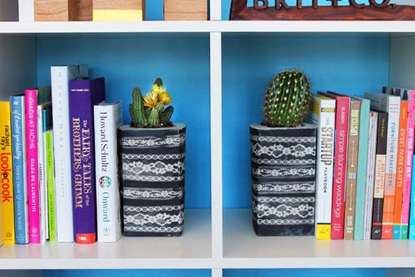 Use Lace and Concrete to Make Bookends, Planters, and Votives