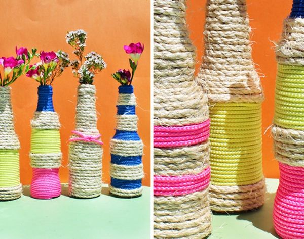 Make These Rope Bottle Vases in Under 10 Minutes!