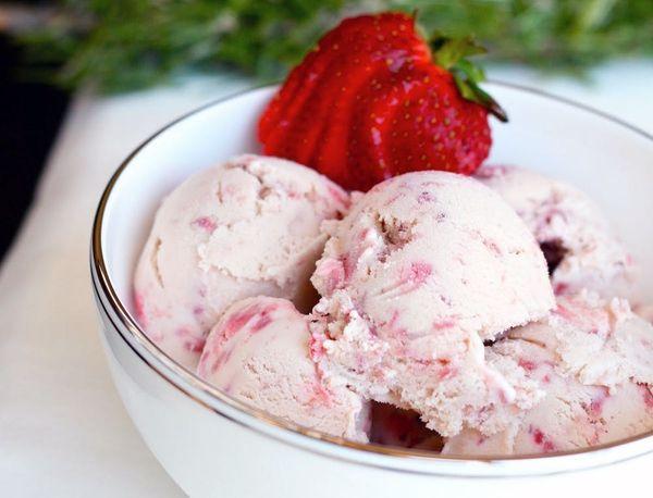 Strawberry Balsamic Rosemary Ice Cream