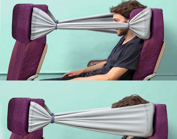 Air Travel Hack: All-In-One Privacy, Pillow and Storage