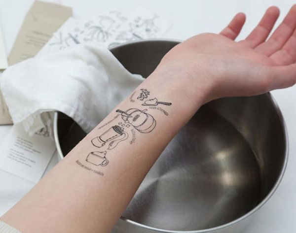 These Temporary Tattoos Transform Your Arm into a Cookbook
