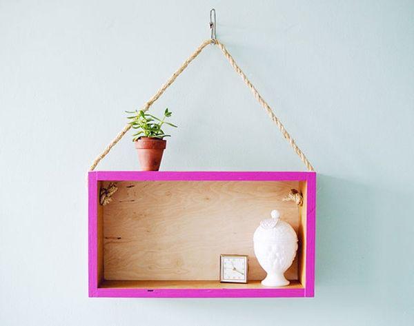 Turn a Wooden Box into a Modern Hanging Shelf