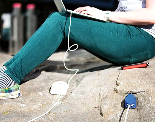 Is This the Park of the Future? Charge Your Phone on a Rock!