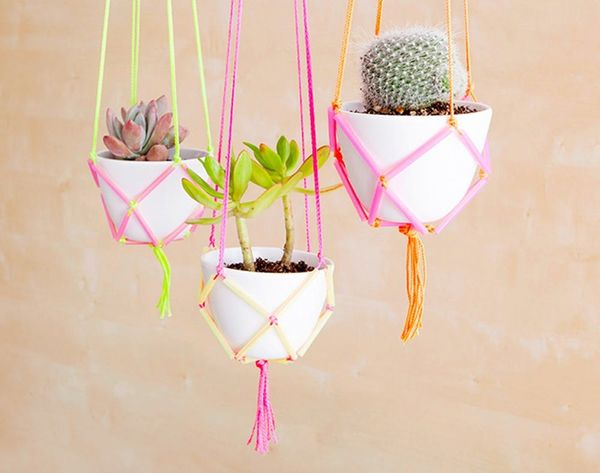 How to Use Neon Straws and String to Make Easy DIY Hanging Planters