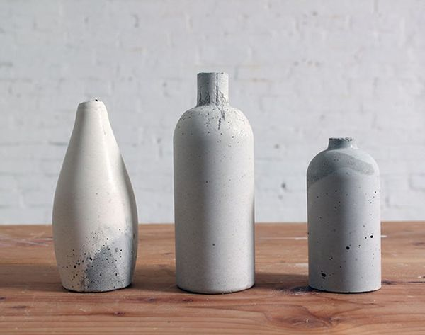 Use Old Bottles to Make Chic Concrete Vases
