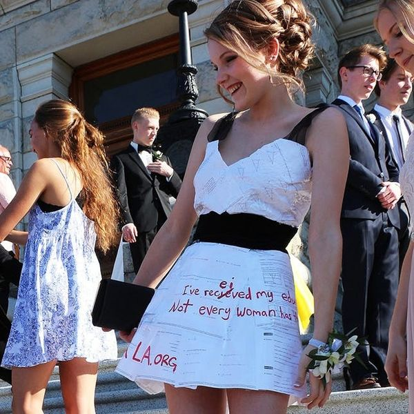 See the Graduation Dress This Awesome Teen Made Out of Her Homework