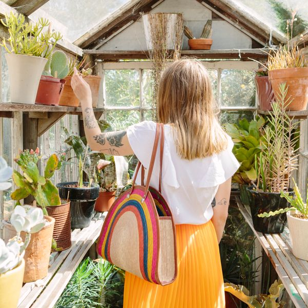 Girl in greenhouse