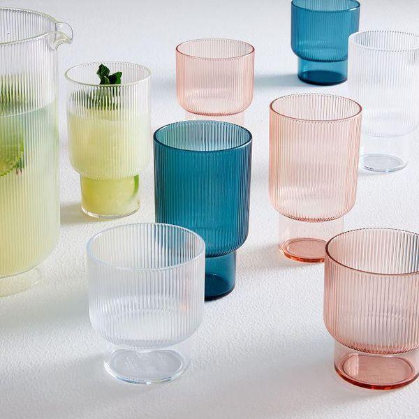 West Elm Acrylic Glassware Pastel Pink Blue