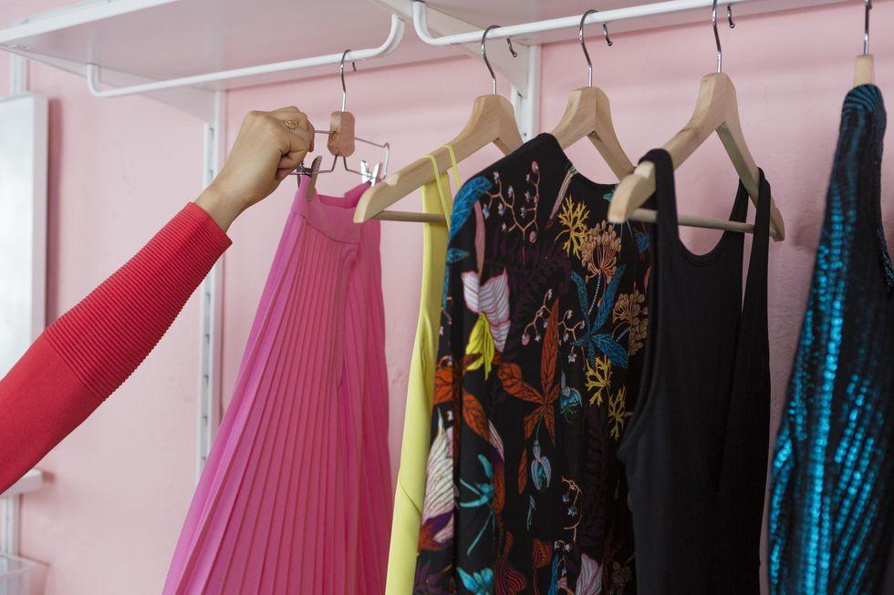 wardrobe closet rack with clothes