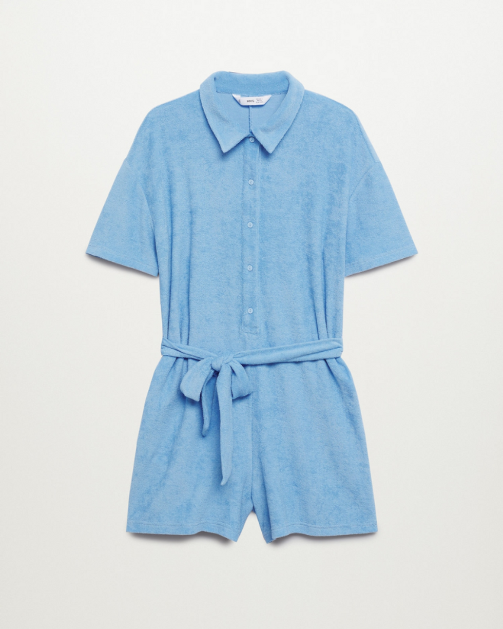 blue mango towel jumpsuit with tie waist and short sleeves