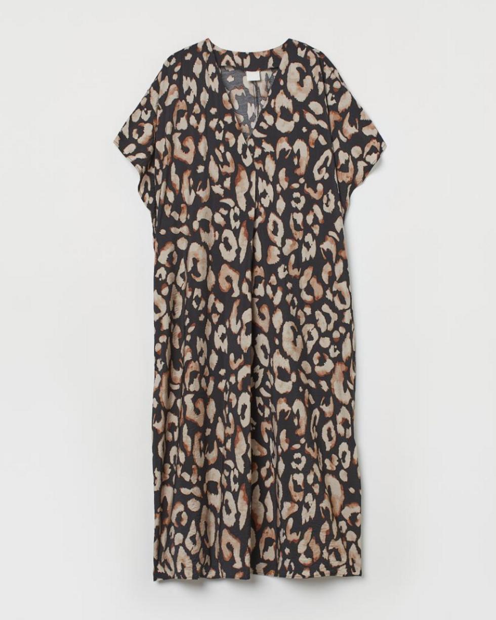 dark kaftan dress with tan leopard print