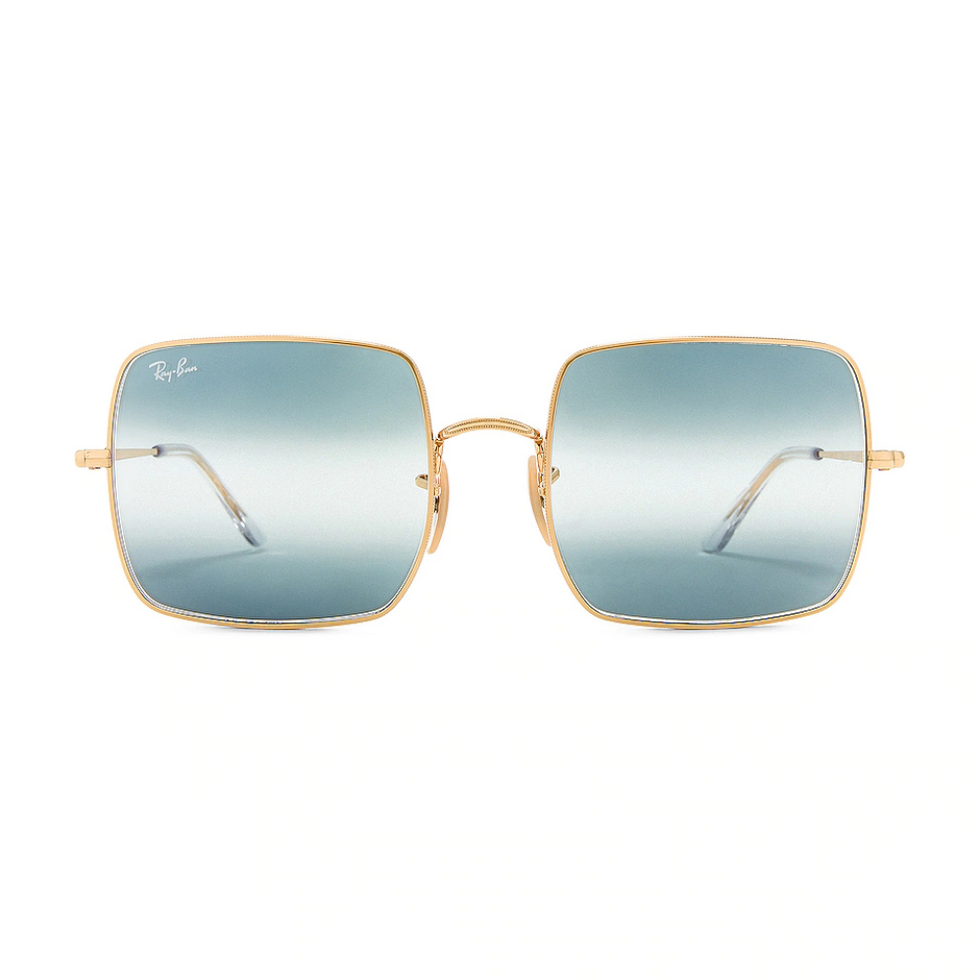 square sunglasses with blue lenses from ray ban