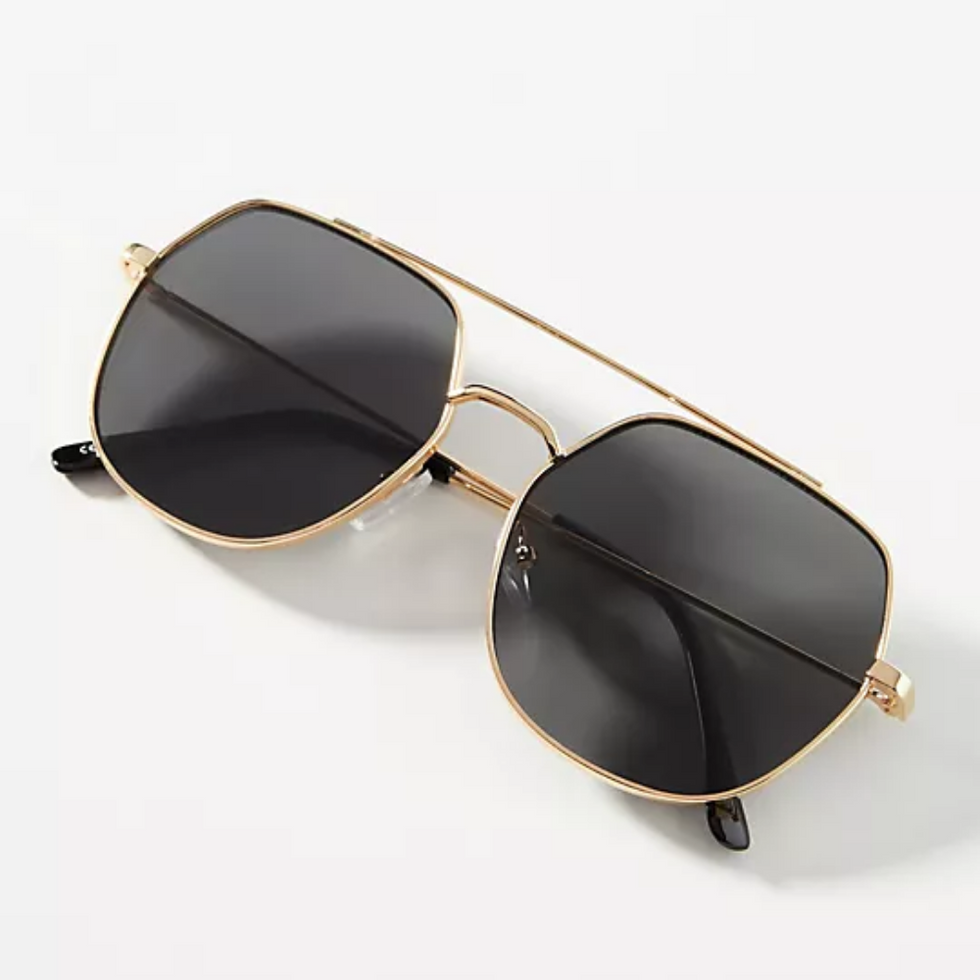 anthropologie square aviators with gold rims